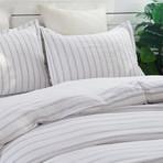 Linen Yarn Dyed Duvet Set // White Stripe (Full/Queen)