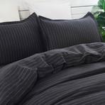 Linen Yarn Dyed Duvet Set // Black Stripe (Full/Queen)