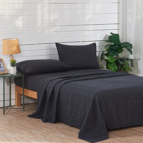 Linen Yarn Dyed Sheet Set // Black Stripe (Queen)