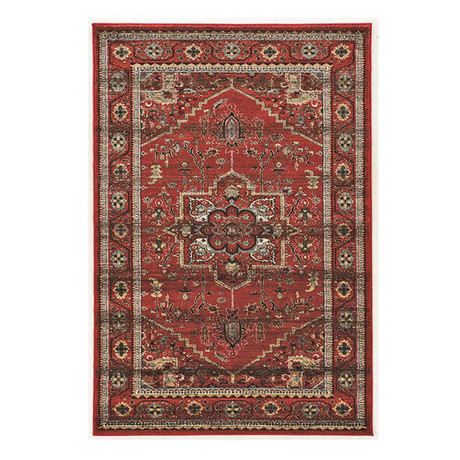 Flourish Medallion Red Orange Rug (5' x 7')