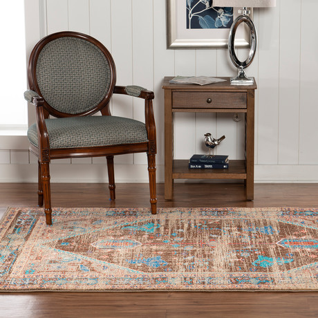 Flourish Heriz Brown Multi Rug (5' x 7')