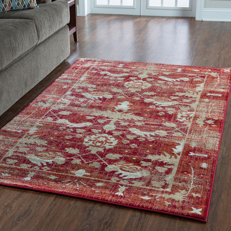 Flourish Hamadan Red Rug (5' x 7')
