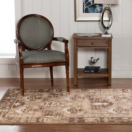 Flourish Hamadan Brown Rug (5' x 7')