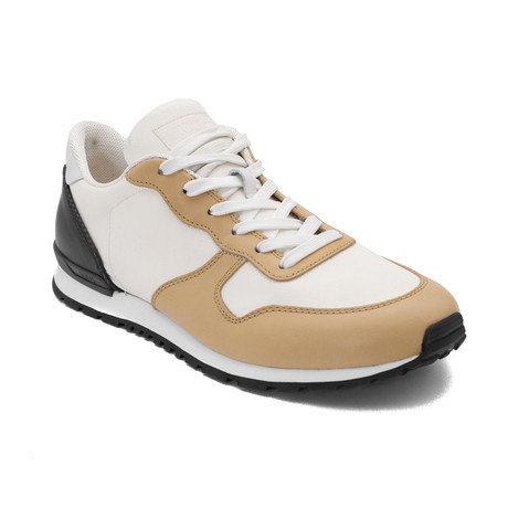Leather Fabric Sneaker Shoes // White + Tan (US: 6.5)