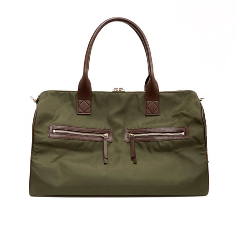 Nylon Duffle Bag + Leather Trim // Olive + Brown