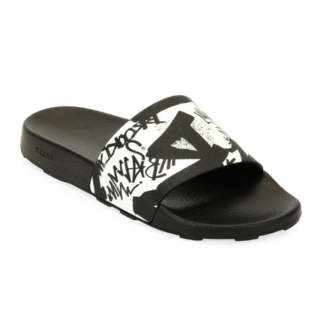 Slanter Rubber Slide // Black + White (US: 8)