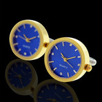 Functioning Clocks Cufflinks + Gift Box // Gold + Blue