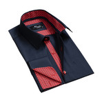 Reversible Cuff French Cuff Shirt // Black + Red (2XL)