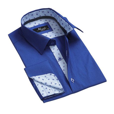 Amedeo Exclusive // Reversible Cuff French Cuff Shirt // Medium Blue (S)