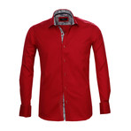 Amedeo Exclusive // Reversible Cuff French Cuff Shirt // Solid Red (3XL)