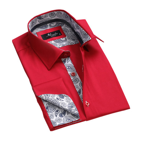 Reversible Cuff French Cuff Shirt // Solid Red (S)