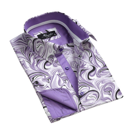 Reversible Cuff French Cuff Shirt // Purple + White Swirls (S)