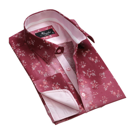 Reversible Cuff French Cuff Shirt // Red Floral (S)