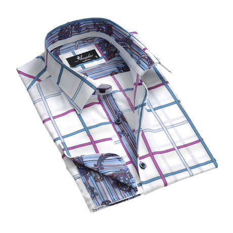 Amedeo Exclusive // Reversible Cuff French Cuff Shirt // White + Pink + Blue Check (S)