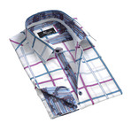 Reversible Cuff French Cuff Shirt // White + Pink + Blue Check (S)