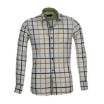 Reversible Cuff French Cuff Shirt // White + Blue + Green Check (S)