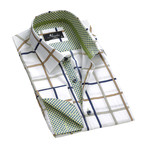 Reversible Cuff French Cuff Shirt // White + Blue + Green Check (L)