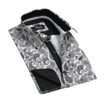 Reversible Cuff French Cuff Shirt I // White + Black Paisley (L)