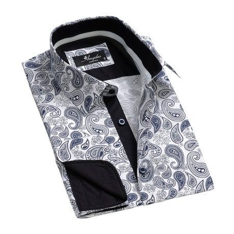 Amedeo Exclusive // Reversible Cuff French Cuff Shirt // White + Blue Paisley (S)
