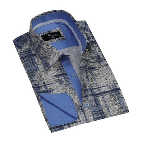 Amedeo Exclusive // Reversible Cuff French Cuff Shirt // Beige + Blue Paisley (S)