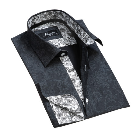 Reversible Cuff French Cuff Shirt // Black + Gray Floral (S)