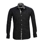 Reversible Cuff French Cuff Shirt // Black + Gray Floral (L)