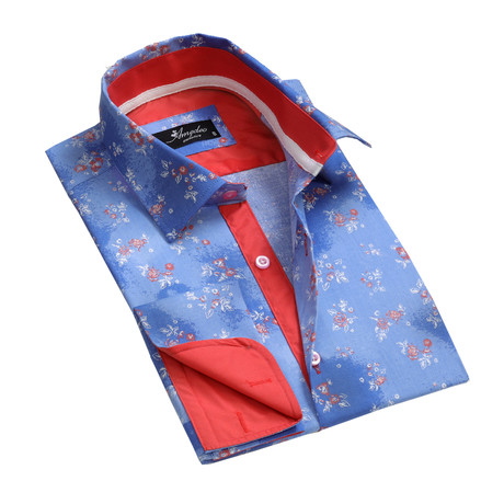 Amedeo Exclusive // Reversible Cuff French Cuff Shirt // Blue Floral (S)