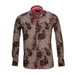 Reversible Cuff French Cuff Shirt // Brown Floral (M)