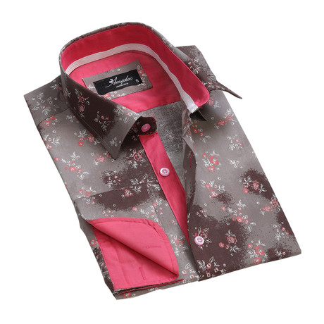 Reversible Cuff French Cuff Shirt // Brown Floral (S)
