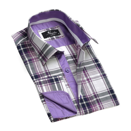 Reversible Cuff French Cuff Shirt // White + Purple Check (S)
