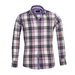 Amedeo Exclusive // Reversible Cuff French Cuff Shirt // White + Purple Check (2XL)