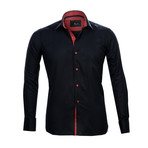 Reversible Cuff French Cuff Shirt // Black + Red (L)