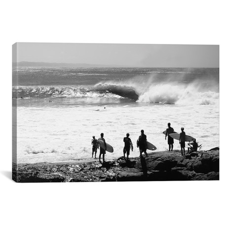 "Silhouette Of Surfers Standing On The Beach, Australia // Panoramic Images (26""W x 18""H x 0.75""D)"