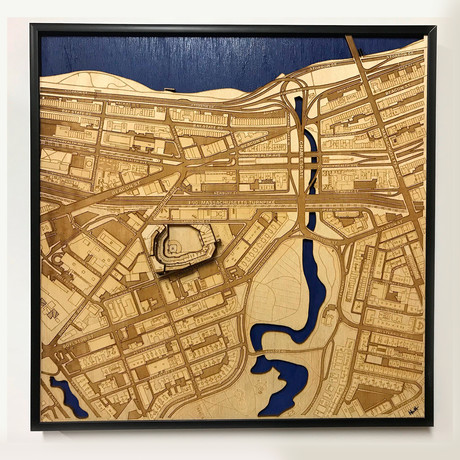 "Boston, Massachusetts // Wood (12"" x 12"")"