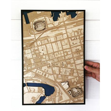 """Cleveland, Ohio // Wood (12"""" x 18"""")"""