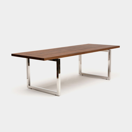 GAX 36 Table // Walnut + Polished Stainless Steel