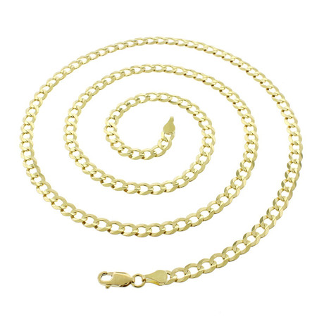 "Solid 10K Yellow Gold Comfort Curb Cuban Necklace // 3.2mm (20"")"