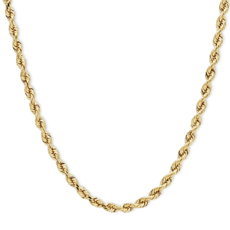 Hollow 10K Yellow Gold Diamond Cut Sparkle Rope Chain Necklace // 4.0mm