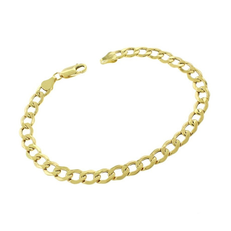 Solid 10K Yellow Gold Curb Cuban Bracelet // 6.1mm