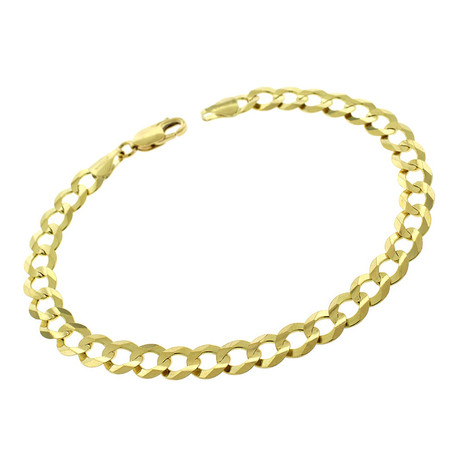 Solid 10K Yellow Gold Comfort Curb Cuban Bracelet // 5.7mm