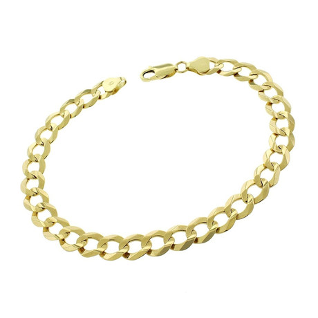 Solid 10K Yellow Gold Comfort Curb Cuban Bracelet // 8.2mm