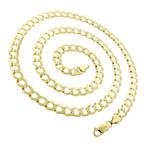 Solid 10K Yellow Gold Comfort Curb Cuban Chain Necklace // 7mm