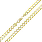 Solid 14K Yellow + White Gold Comfort Pave Cuban Link Necklace // 4.6mm