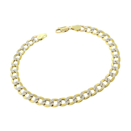 Solid 14K Yellow + White Gold Comfort Pave Cuban Link Chain Bracelet // 5.7mm