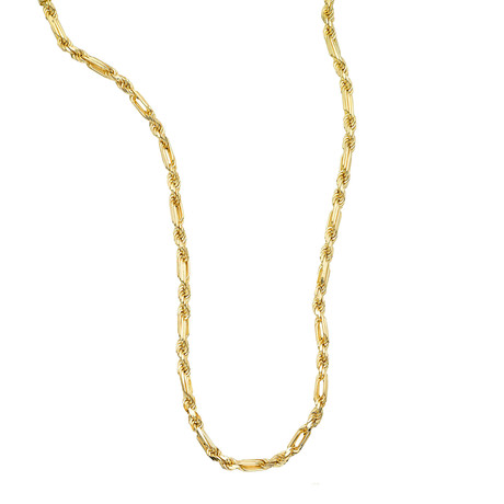 "Solid 14K Yellow Gold Figaro Rope Necklace // 4.3mm (24"" // 31g)"