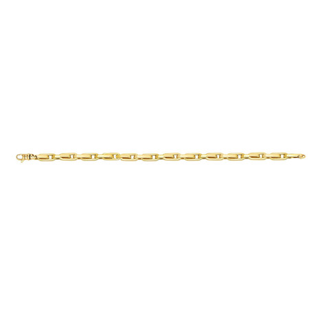 Solid 14K Yellow Gold Long Alt. Oval Link Necklace