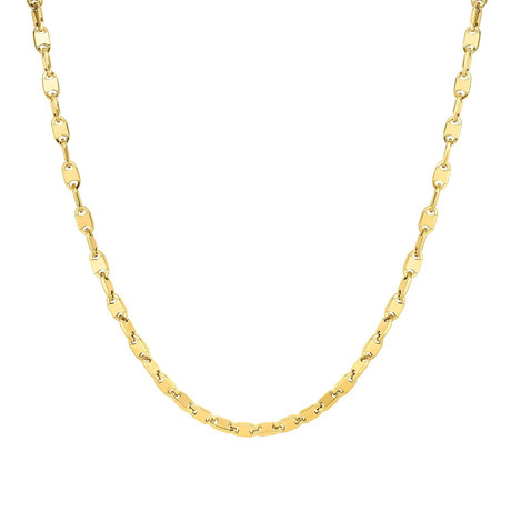 Solid 14K Yellow Gold Shiny Oval Necklace // 5mm