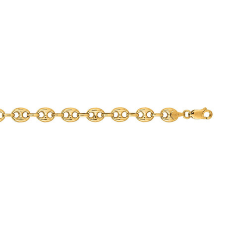 Solid 14K Yellow Gold Shiny Puffed Mariner Link Bracelet // 11mm