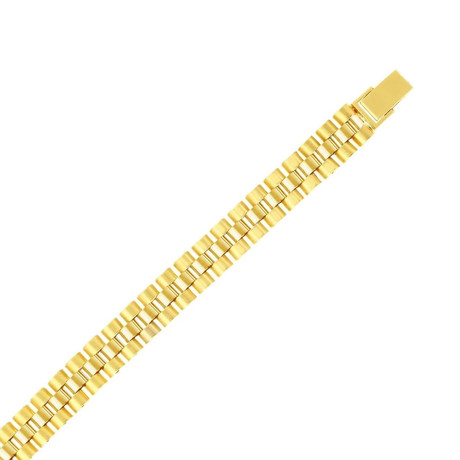 Solid 14K Yellow Gold Satin Panther Bracelet // 9.3mm