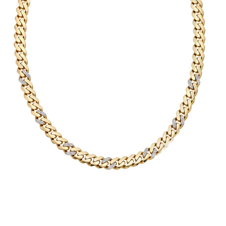 Solid 14K Yellow Gold Miami Cuban Necklace + Diamonds // 9.5mm